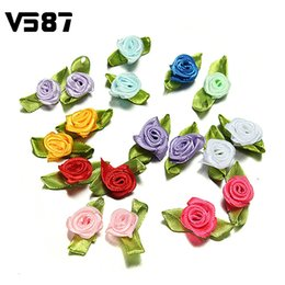 Wholesale Ribbon Flower Rose Appliques - Wholesale- 100 Pcs Lovely Wedding Decor Flower Ribbon Stain Rose Party DIY Decorative Bow Appliques Home Sewing Leaves