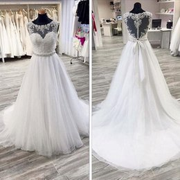 Wholesale Heart Tulle - Gorgeous A Line Wedding Dress Sheer Crew Neck Lace Appliques Heart Shaped Back Bridal Gowns with Beaded Sash Sweep Train
