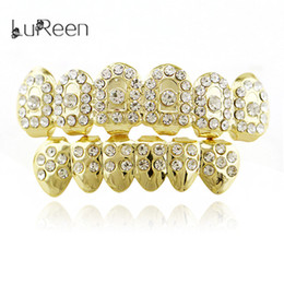 Wholesale Dental Costumes - Lureen Gold Rhinestone Teeth Rock Style Hip Hop Crystal Bling Grillz Top Bottom Dental Grills Vampire Teeth for Costume Party NL0057