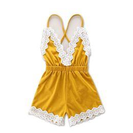 Wholesale Suspender Jumpsuit - 2017 baby sets summer children's clothing, girls Jumpsuits Rompers lace,kids suspender pant