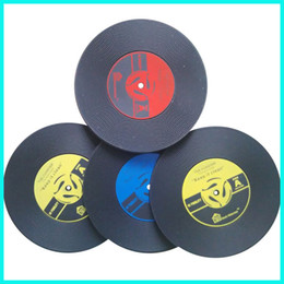 Wholesale Highest Cds - Black Round Mats Vintage Vinyl CD Record Coasters Durable High Flexibility Non Toxic Cup Pad For Home 0 99ws B