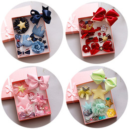 Wholesale Head Flowers Clips - 10pcs  Set Hair Bowknot Hair Clips Ribbon Bows Headdress Kids Head Wraps Accessory Headbands Lovely Flower Hairband