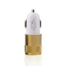 Wholesale Apple Ipad Sales - Factory Sales Metal Dual 2 Port USB Car Charger portable Charger for iPhone iPad iPod Samsung Galaxy Note Tablet Fast Shipping