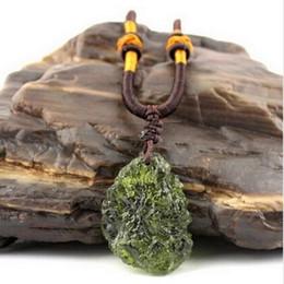 Wholesale Energy Necklace Stones - Hot Sale A++ Natural Moldavite Czech meteorite green aerolites crystal stone pendant energy apotropaic4g-6g  lot+ free rope Unique Necklace