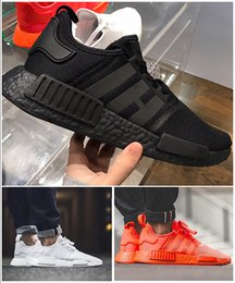 Wholesale New Fashion Fabrics - Hot Sale New NMD R1 Again Monochrome Primeknit PK Running Shoes For Men Women Triple Black White Red Nmds Runner R1 Fashion Sneakers