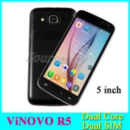 Wholesale Cheap Smart Phones 3g - ViNOVO R5 Cheap 5 inch 3G Unlocked MTK6572 Dual Core Smart phone Android Dual SIM 512MB 4GB Mobile Cell phones Smart Wake 10pcs
