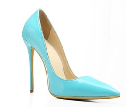 Wholesale shoes ladies club - women 12 cm high heels patent leather pumps slip on stilettos office lady shoes   party club pumps chaussure femmes