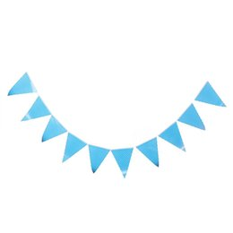 Wholesale White Bunting - Wholesale-Bunting Flags Banner Happy Birthday Party Dessert Table Decor Blue + White