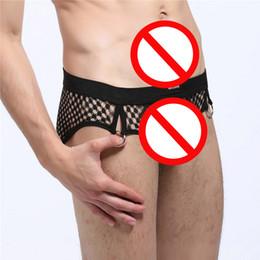 Wholesale Men S Hipster Briefs - New Mens underwear Sexy gauze Men Briefs Shorts Briefs Fashion Better quality U Bag Design Gay transparent Net yarn Hipster G penis pouch