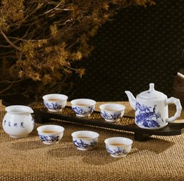 Wholesale Fine Chinese Tea - Ceramic Porcelain Tea Set with Chinese Fine Brush Handpainted Peacock and Flowers Painting CN-002