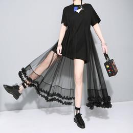 Deutschland [GROßHANDEL] ursprüngliche 2016 Sommert shirt nähende Spitze Gaze Kleid Frauen neue Kleidung Mode schwarz weiß supplier wholesale women t shirt dresses Versorgung