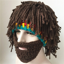 Wholesale Green Beard - 2017 New Creative Funny Crochet Hats Men Women Fashion Big Beard Caps 100% Handmade Autumn & Winter Warm Wool Knitted Cap A134