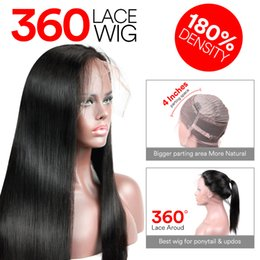 Wholesale Silky Straight Lace Wigs - Uglam Straight 360 lace front wigs Peruvian human hair wigs With PrePlucked Natural Hairline 180% Density Peruvian virgin hair Free Shipping