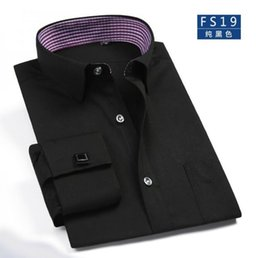 Wholesale Hq Shipping - Wholesale- Brand HQ shirt Free shipping Men's Shirt,New men's long Sleeve Casual Shirts Slim fit French Cufflink Dress Shirts For Men Big