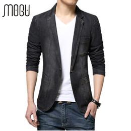43e6ea95854 Wholesale- MOGU Men s Jacket 2017 Spring New Arrival Denim Blazer Fashion  Jean Coat For Male Casual Blazer Slim Fit Asian Size Blazer Men asian  jackets for ...