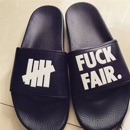 Wholesale Beach Lovers - Hip-Hop Slippers Brand Original undefeated Slippers Lovers Indoor Home Slippers Genuine Leather Upper Material Non-Slip Soles