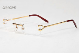 Wholesale Clear Shield Glass - 2018 high quality designer sunglasses for men unisex rimless clear glasses fashion men glasses gold silver metal frame buffalo horn glasses