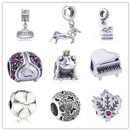 Wholesale Lampwork Frog Charm - 925 Sterling Silver Horse Tiara Passport Frog Piano Maple Charm Beads Fit for European Pandora Style charm Bracelet