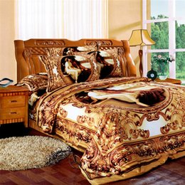 Wholesale Oil Painting Queen - Wholesale-Svetanya western oil painting Bedlinen golden bedclothes 3D bedding set king queen Full size Duvet cover sets