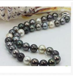 Wholesale Natural Round Tahitian Pearl - stunning10-11mm tahitian natural round multicolor pearl necklace 24inch