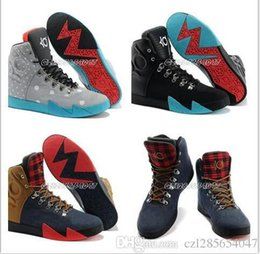 Wholesale Kd High Top Shoes - 201 NEW Latest Kevin Durant Kd 6 NSW Lifestyle Leather QS Gamma Blue Men Shoes High Top Athletic Kd6 Sneakers Lace Up High Quality