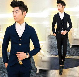Wholesale Korea Skinny Pants - Wholesale- New Arrival Hot Brand 2016 men's fashion casual high quality cotton cool suit male slim korea style solid blazers vest and pants