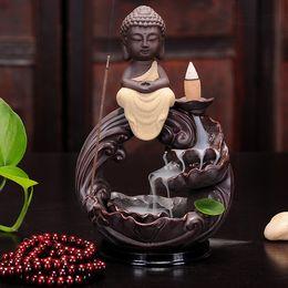 Wholesale Decoration Buddha - Home Decoration Ceramic Censer Smoke Backflow Incense Burner Bullet Incense Cones Burner Buddha Incense Aroma Burner 3 Styles+10pcs Cones