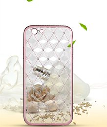 Wholesale Plaid Iphone Case - Crystal Transparent Phone Case Soft TPU Ling Plaid Metal Plating Cover For iPhone 6s 5 Sansung OPPO HUAWEI VIVO With Retail Box