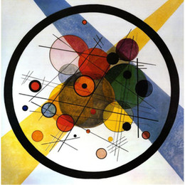 Wholesale Paintings Kandinsky - Hand painted wall picture Wassily Kandinsky paintings Circles in Circle modern Canvas art hand-painted