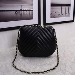 Wholesale Tartan Handbags - Best quality Sheepskin leather V-stripe sewing bag bags handbags women famous top quality fashion designer ladies shoulder bag