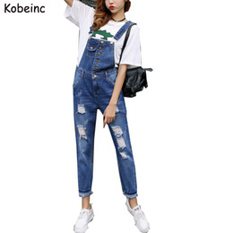 Wholesale Denim Overalls Woman - Wholesale- Super Cool Boyfriend Ripped Denim Jumpsuits Women Vintage Hollow Salopette Mujer 2017 New Overalls Plus size with Pocket Rompers