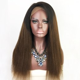 Wholesale Brazilian Yaki - Full Lace Human Hair Wigs Yaki Straight Ombre T1b 30 Brazilian Virgin Hair 130 Density With Baby Hair Lace Front Wig Bleached Knots