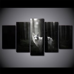 Wholesale Wolf Dog Paintings - 5 Pieces HD Printed Canvas Art Painting Decor Pictures Forest Dog Pet Wolf Landscape Wall Art For Living Room Wall Poster