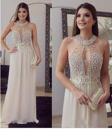 Wholesale Taffeta Halter Top - vestido de festa Sexy Sheer Top with Pearls Crystals Prom Dresses Halter A Line Chiffon Long Arabic Evening Party Gowns