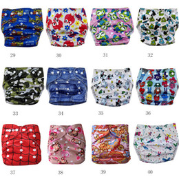 Wholesale Aio Cloth Diapers Large - 47 Styles Cartoon Animal Print Baby Diaper Covers Waterproof AIO Cloth Nappy TPU Cloth Diapers NC038