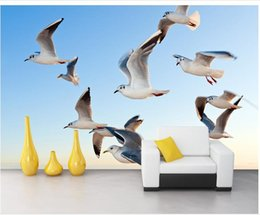 Wholesale Seagulls Wall - High Quality Customize size Modern Seagull background wall murals mural 3d wallpaper 3d wall papers for tv backdrop