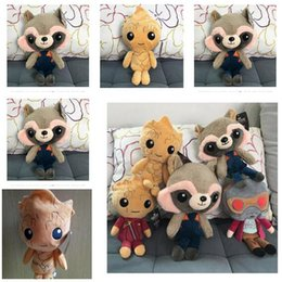 Wholesale Top Toy Figures - Plush Toys Dolls Guardians of the Galaxy Top Quality Cartoon Groot Treeman Raccoon Stuffed Animal Movie Doll Baby Toy Christmas gifts