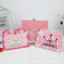 Wholesale Princess Party Invitations - Wholesale-24pcs Birthday party supplies crown princess birthday invitation card