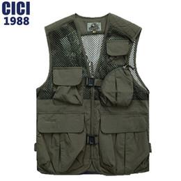 Wholesale Bag Photographers - Wholesale- 2016 Men clothing Leisure and fashion mesh Many bags vest ; men coat photographers vest,multifunctional vest, size M-XXXL A68