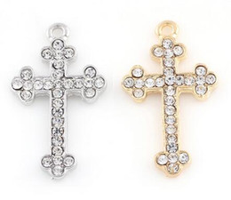 Wholesale Floating Locket Gold - 20pcs lot Silver Gold Plated Rhinestones Cross Floating Pendant Charms Fit For Memory Locket Bracelet Making