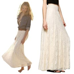 Wholesale Maxi Layered Skirt - 2017 Summer Skirt Bohemian Style Women Sexy Boho Long Maxi Party Skirts Beach Layered Skirt 505