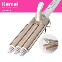 Wholesale Pearl Curling Wand - Triple Barrel Ceramic Hair Wave Waver Curling Iron Wand Tong Hair Pearl Waving Styling Tools Twiste Iron 220-240V New Design 1201031