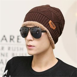 Wholesale Earmuffs For Men - Fashion Beanies for Mens Winter Knitted Woolen Caps Hat Crochet Fedora Luxury Hat Earmuffs Cycling Fashion Beanies Thick Warm Outdoors DHL