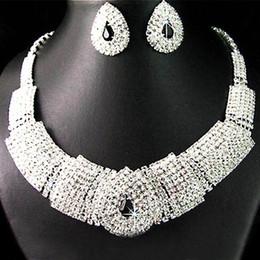 Wholesale Korean Pendant Design - Lady Women's fashion Wedding Party Black Crystal silver Pendant Necklace Earrings Set Korean Dress Jewelry Set New Design