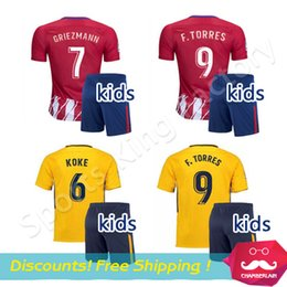 Wholesale Kids Football Uniforms Set - kids Torres Soccer Jersey Sets 2017-18 Football Shirt Soccer Atleticoes Children youth Uniform Jackson Martinez boys GRIEZMANN KOKE kits set