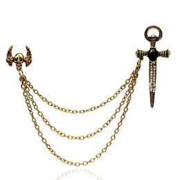 Wholesale Scarf Jewelry Skull - Wholesale- 2016 New For Women & Men Dress Scarf Accessories Brooch Pins Jewelry Antique Gold Silver Plated Halloween Sword Skull Brooches