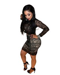 Wholesale Tight Lace Dress Sleeves - Women Lace Two Piece Dress 2017 Spring New Fashion Sexy Nightclub Tight Lace Hollow Splicing O Neck Long Sleeve Bodycon Suits Dress