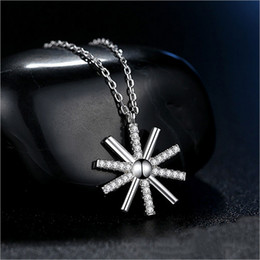 Wholesale Necklaces Black Flower - Factory direct 925 sterling silver pendants Japan and South Korea simple personality temperament wild fresh flowers necklace a generation of