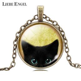 Wholesale Black Cat Picture - Wholesale-Unique Necklace Glass Cabochon Silver Bronze Chain Necklace Tradition Black Cat Picture Vintage Pendant Necklace For Women