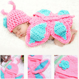 Wholesale Newborn Butterfly - Baby Photography Prop Butterfly Crochet knitting Costume Baby Outfits Set For Newborn Boys And Girls Photography Cap 2017 BP028